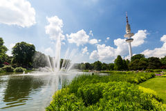 View of the Planten un Blomen Park near the Parksee Royalty Free Stock Photography