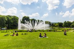 View of the Planten un Blomen Park near the Parksee Stock Photo