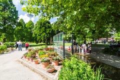 View of the Planten un Blomen Park near the Parksee Stock Image