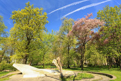 A view of the Planty park the most famous place for walks in Krakow. Poland. A view of the Planty park the place for walks in Krakow. Poland Stock Photos