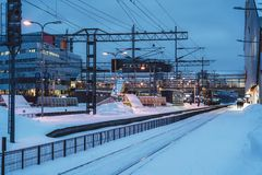 View of the platform area of the railway station of Tikkurila at winter royalty free stock photo