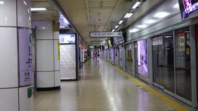 View of platform at Dongducheon Jungang Station in Seoul, Korea.  stock video footage