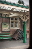 View of a platform on English railway station. KINGSCOTE, UK - MARCH 19, 2016: View of a platform on the Bluebell Line from the window of a train cariage Royalty Free Stock Photography