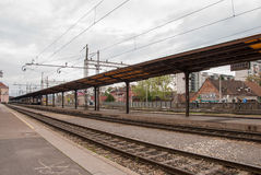 View from the platform of the main railway station. ZAGREB, CROATIA - April 12, 2014 - View from the platform of the main railway station in Zagreb, Croatia Royalty Free Stock Image