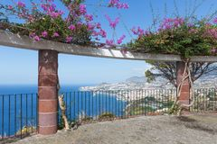 View platform with ornamental flowers and an aerial view at Funchal, Madeira Royalty Free Stock Image
