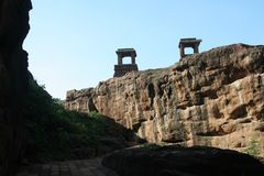 View Platforms. Stone platforms erected on hilltop to afford overall view at Badami in Karnataka, India, Asia Royalty Free Stock Photography