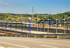 View on platforms of modern railway station in Tarragona, Spain. Royalty Free Stock Images