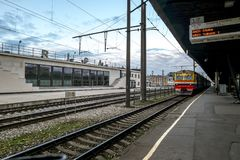View on the platforms of railway station in Riga. Royalty Free Stock Photos