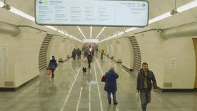 MOSCOW - CIRCA APRIL, 2018: View of platfrom of new metro station Seligerskaya. View of platfrom of new metro station Seligerskayai in Moscow stock video