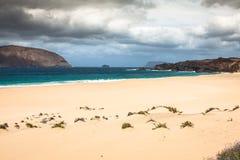 A view of Playa de Las Conchas, a beautiful beach on La Graciosa Royalty Free Stock Photos