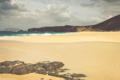 A view of Playa de Las Conchas, a beautiful beach on La Graciosa Stock Photos