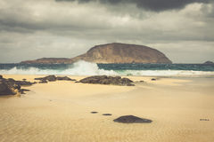 A view of Playa de Las Conchas, a beautiful beach on La Graciosa Stock Images