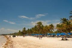 View of Playa Paraiso beach near Tulum. stock photo