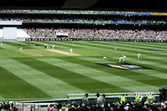 View of players from pavilion at MCG Stock Photos