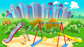 View on the playground with city royalty free stock photography