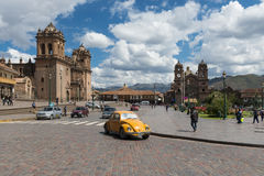 View of the Plaza de Armas in the City of Cuzco, in Peru Royalty Free Stock Photos
