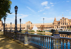 View of Plaza de Espana with fence. Seville Stock Image