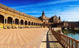 View of Plaza de Espana. In sunny day at Seville Stock Photos