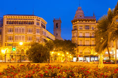 View of Plaza de la Reina in night. Valencia. Spain royalty free stock photos