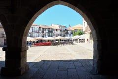View of Plaza de Santiago Praca Sao Tiago in old town of Guimaraes stock images