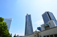 View plaza landmark tall buildings in Yokohama Royalty Free Stock Image