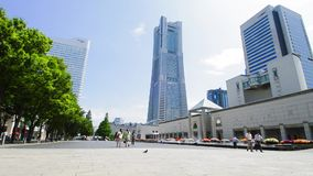 View plaza landmark tall buildings in Yokohama Stock Photography