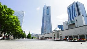View plaza landmark tall buildings in Yokohama Stock Photos