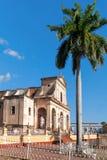 View of Plaza Mayor with Santisima church in Trinidad, Cuba. Stock Photo