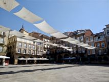 View of the plaza of Ourense in Spain during a sunny day. Of summer stock photo