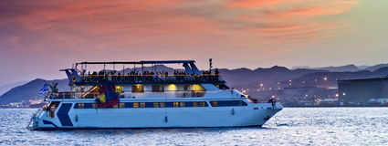 View on pleasure boat, Eilat, Israel Stock Photos