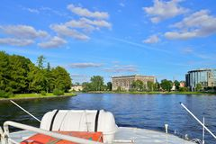 The view from the pleasure boat on the river Average Nevka, betw. Een Yelagin and Krestovsky island. St. Petersburg Stock Photography