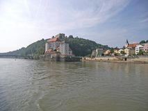 View from the pleasure boat to Passau royalty free stock photo