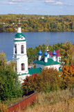 View of Ples town, Russia. Saint Barbara church Royalty Free Stock Photos