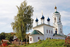 View of Ples town, Russia. Saint Barbara church Royalty Free Stock Photography