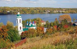 View of Ples town, Russia. Saint Barbara church Royalty Free Stock Photo
