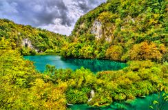 View of the Plitvice Lakes National Park in Croatia royalty free stock images