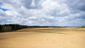 View on plowed field Royalty Free Stock Images