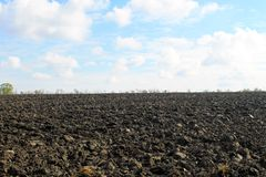 Plowed field on autumn Stock Photography