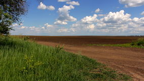 View of a plowed field stock footage