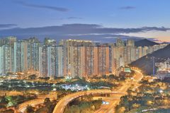 The sunset of Po Shun Road at TKO. View of Po Shun Road at Tseung Kwan O Stock Image
