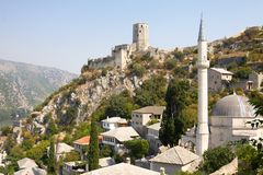 View of Pocitelj with the mosque and citadel stock photography