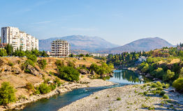 View of Podgorica with the Moraca river Royalty Free Stock Images