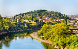 View of Podgorica with the Moraca river Royalty Free Stock Photos
