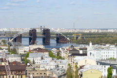 View of Podil, the historic district of Kyiv, and the bridge Royalty Free Stock Images