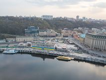 View of Podil, River station and the river Dnieper in Kyiv, Ukraine. Aerial view of River Port, Podil and Postal Square in Kiev the capital of Ukraine. Podil is Royalty Free Stock Photo