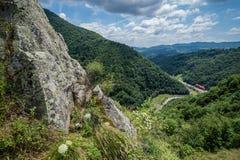 View from Poenari Castle. Aerial view from ruined Poenari Castle on Mount Cetatea in Romania stock photography