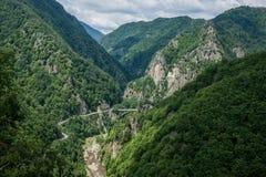View from Poenari Castle. Transfagarasan Road seen from ruined Poenari Castle on Mount Cetatea in Romania stock photography