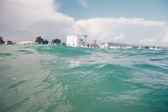 View of Poetto beach from the sea - Sardinia italy royalty free stock images