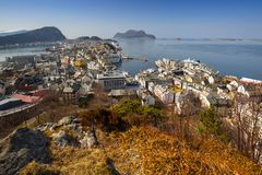 View point of beautiful Alesund town. Beautiful Alesund town in sunny day, Norway Stock Images