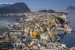View point of beautiful Alesund town. Beautiful Alesund town in sunny day, Norway Stock Photos